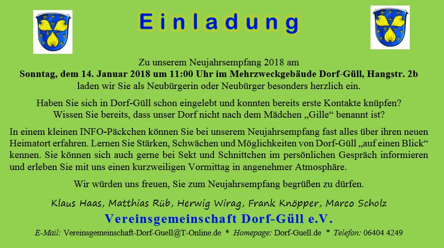 """Neujahrsempfang 2018 – für """"Neubürger"""""""